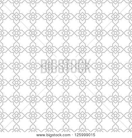 Vector seamless pattern. Modern stylish texture. Regularly repeating geometric tiles with small dots dotted crosses rhombus. Abstract seamless background. Contemporary design