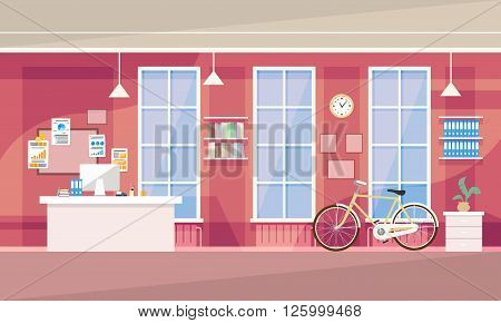 Creative Office Co-working Center University Campus Vector Illustration