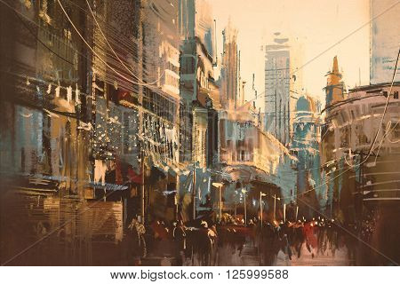 Illustration painting of city street, vintage style