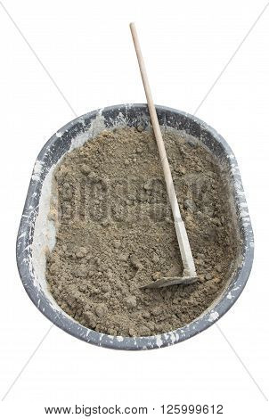 Mixing cement in salver for applying construction on white background, with industrial concept, with industrial work, with industrial in house, with industrial in home, with industrial in city, with industrial object.
