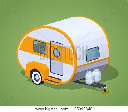 Retro motor home against the green background. 3D lowpoly isometric vector illustration