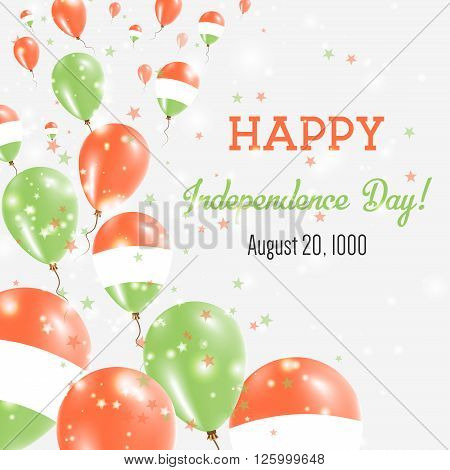 Hungary Independence Day Greeting Card. Flying Balloons In Hungary National Colors. Happy Independen