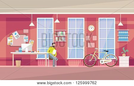 Creative Office Student Co-working Center Business Man Sitting University Campus Vector Illustration
