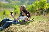 stock photo of wine-glass  - Couple drinking wine in vineyard - JPG