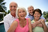 stock photo of 55-60 years old  - Portrait of senior couples smiling - JPG