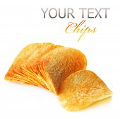 stock photo of potato chips  - Potato Chips isolated on white - JPG