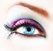 stock photo of blue eyes  - Beautiful abstract woman Eye closeup - JPG