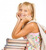 Education Concept.Happy School girl with books