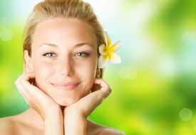 stock photo of beautiful woman face  - Spa Girl over nature background - JPG