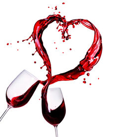 stock photo of red wine  - Two Glasses of Red Wine Abstract Heart Splash - JPG