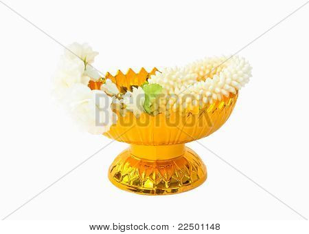 Jasmine Garland On Gold Tray With Pedestal