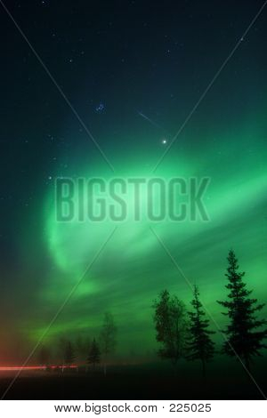 Aurora Borealis And A Meteor