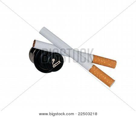 Cigarets and cigarette lighter.