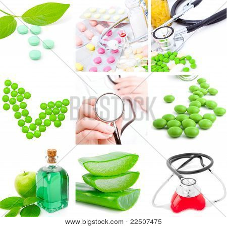 Set Of Medical Subjects: Pill, Stethoscope, Aloe