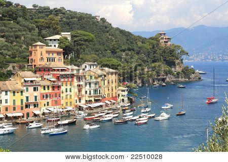 Aerial view on Portofino - small town on Ligurian sea in northern Italy.