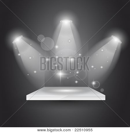 Magic Spotlights with light rays and glowing effect for people or product advertising.