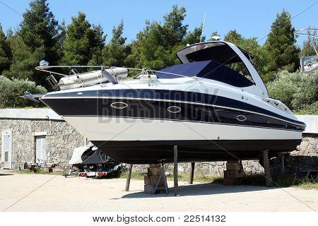 yacht waiting for repair