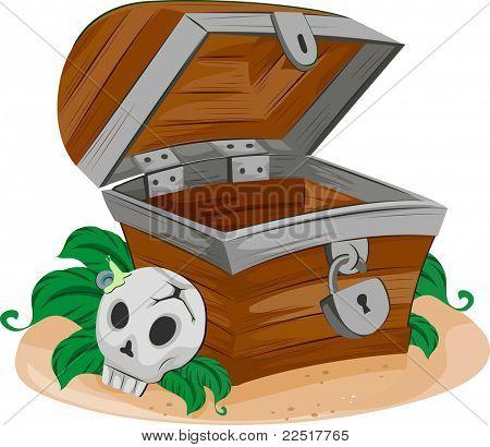 Illustration of an Empty Treasure Chest