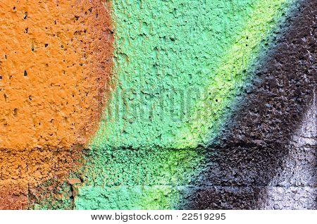 Orange An Green Grafiti Wall Detail