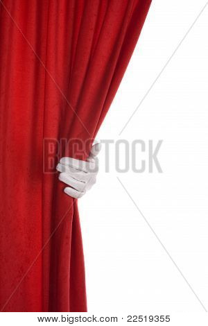 Red Curtain hand over white