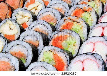 Sushi Looks Yummy Are Arranged