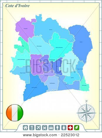 Cote D'ivoire Map with Flag Buttons and Assistance & Activates Icons Original Illustration