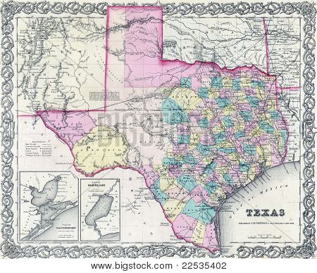 1855 Antique Map Of Texas