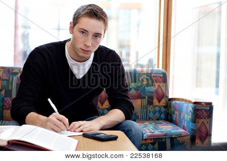Male College Student Doing His Homework