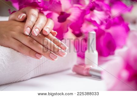 poster of Repairing Old Gel Nails With A Nail Grinder In Nail Studio - Salon. Nails Manicure.