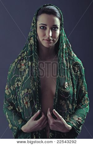 Young woman with cape
