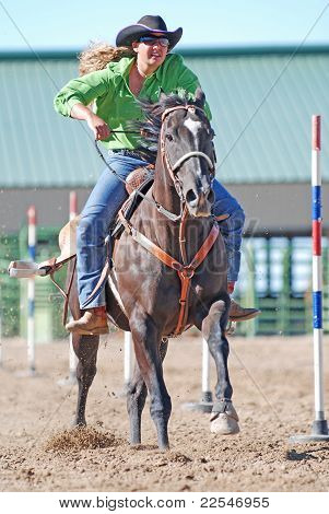 Cowgirl Racing Horse