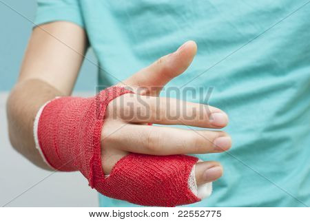 Shaking Bandaged Hand