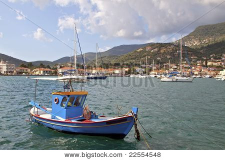 Fishing boat at Ithaki island in Greece