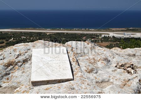 Lord Byron's rock at Lakithra village of Kefalonia