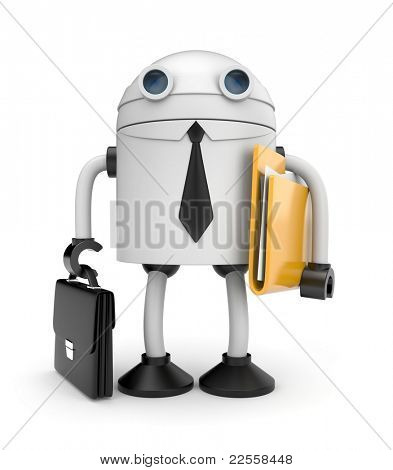 Robot businessman with folder