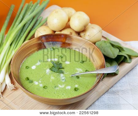 Homemade Potato And Spinach Soup
