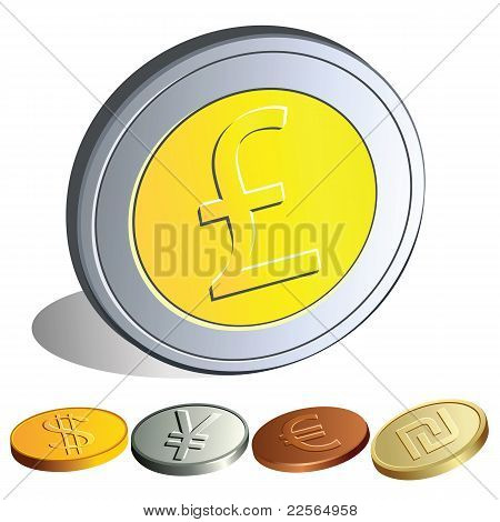 Money Coins With The Symbols Of The Major Currencies