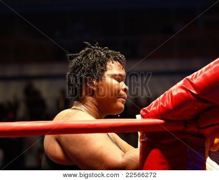 After Fight. The Defeat. Boxer Pamela London (Guyana)