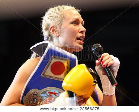 After The Fight. Victory. Boxer Natasha Ragozina (Russia)