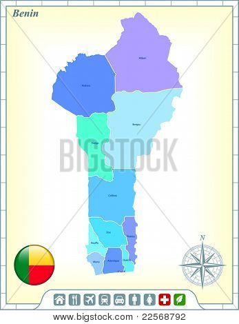 Benin Map with Flag Buttons and Assistance & Activates Icons Original Illustration