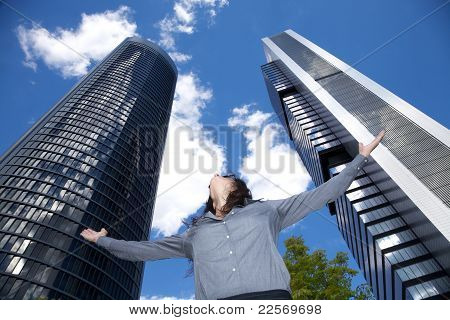 Woman Adoring Skyscrapers