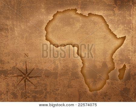 Mapa de África, diseñado en papel viejo de grunge y manchado (mapa derivado de http://visibleearth.nasa.gov)