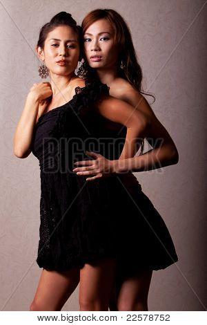 Two gorgeous japanese women wearing fashion dress
