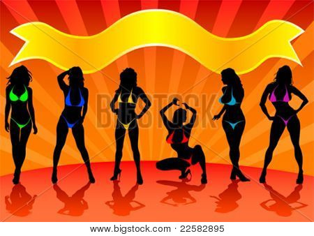 Vector image of girls in bikinis on stage
