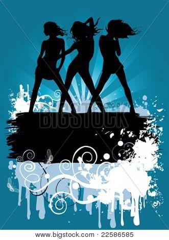 Ilustración de vector con baile chicas, fondo retro erosionada, anuncio sólo su propio texto