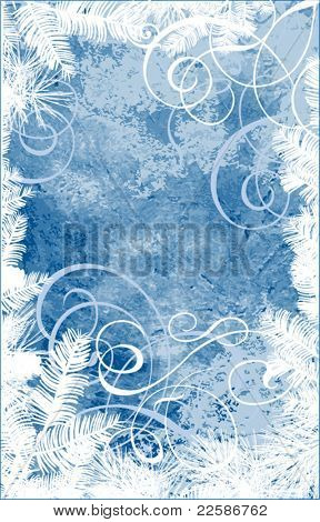 Abstract Christmas background, vector. In blue color.