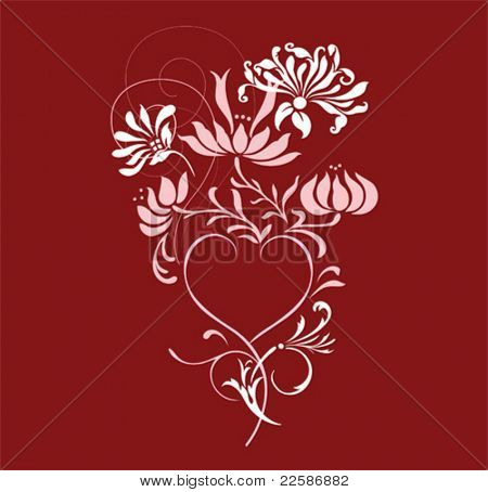 Flower background with waves, hart and element for design, vector illustration.