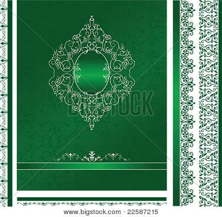 Set of classic design background, frame and ornaments. Vector illustration.
