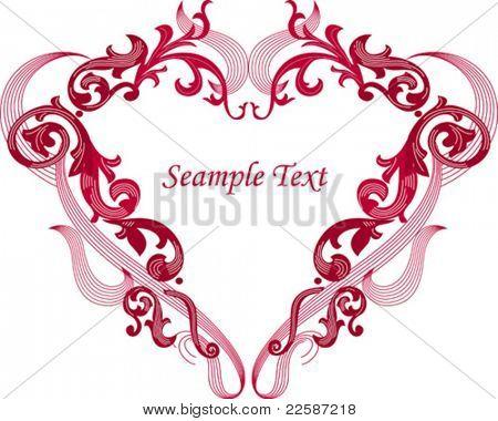 Heart shape frame, vector illustration.