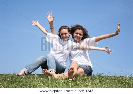 Two Girlfriends Have Waved Hands